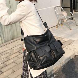 Bolsas preta Bolsas Mulheres Senhoras Leisure Shoulder Tote Bags com bolsos laterais