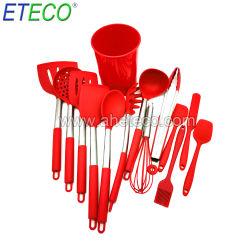 14 piezas de herramientas de cocina con mango de acero inoxidable utensilios de cocina de silicona Set