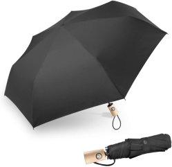 Prova de vento Travel Umbrella Umbrella compacto dobrável com 210t revestimento de secagem rápida, automática e Caixa Portabl confortável alça de madeira