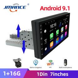 Instelbare 1DIN FM 7-inch autoradio Android 9.1 Contactscherm 1080P autoradio-speler Quad-Core GPS-navigatie