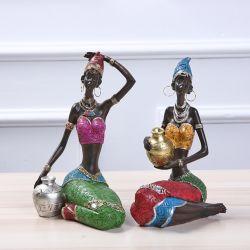 De zwarte Afrikaanse Decoratie van het Beeldje van de Meisjes van de Kunst Afrikaanse Dame Crafts