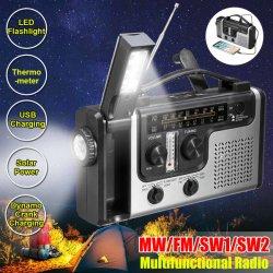LED 플래쉬 등 비상사태 태양 조심스럽게 수동 크랜크 라디오 USB 비용을 부과를 가진 휴대용 다기능 태양 에너지 라디오 MW/FM/Sw1/Sw2