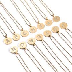 ステンレススチール宝石類のハンドクラフトのコレクション Zircon の石の手紙ペンダントのネックレス 18 インチ、金めっき仕上げのファッション宝石