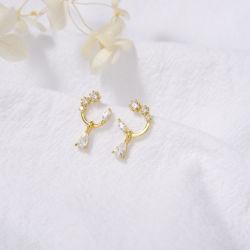 Hot Sale Mode bijoux plaqué or 18K le goujon de zircone cubique cristal Drop Earrings