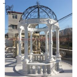 옥외 둥근 금속 지붕 백색 대리석 정원 큰 천막 돌 전망대