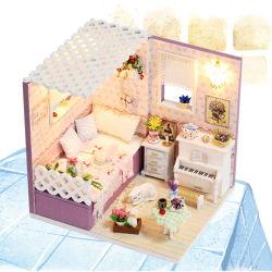 Brinquedos educativos com mobiliário Mini-Doll House Madeira de luz LED
