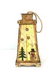 Corte a Laser de LED Lanterna de Boneco de madeira decoração (grandes)