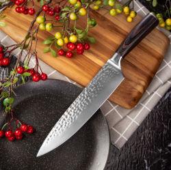 Cuchillo de cocina profesional 8pulgadas Cuchillo de Chef verduras de hoja de acero inoxidable mango de madera cubiertos para el Hogar Cocina y Restaurante