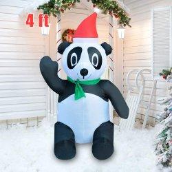Leuke Panda van Kerstmis van Kerstmis de Openlucht Binnen4FT Opblaasbare voor Verkoop