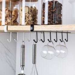 6 de Houder van de Kop van haken hangt Kabinet onder Hulpmiddelen van de Badkamers van de Keuken van het Rek van de Opslag van de Kast van de Haken van de Organisator van de Plank de Multifunctionele Hangende