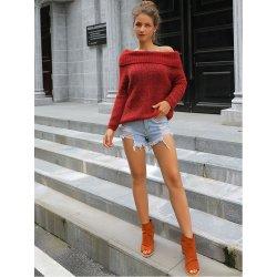 Otoño e invierno de Nueva Jersey cálido suéter de color puro de las mujeres sexy hombro pequeño off-Collar de Diagonal One-Shoulder Two-Shoulder S