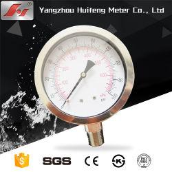 ガスの液体のためのステンレス鋼Ssのタイヤ空気圧のゲージのメートルは、台紙を下げる