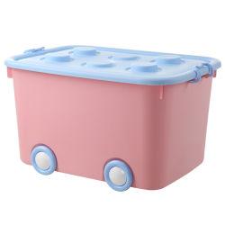Grande boîte de rangement en plastique contenant de l'organiseur empilable avec couvercle de bac et les roues pour les enfants Jouets, vêtements