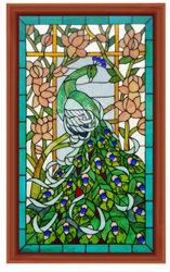 O Vitral decorativas Tiffany levar luz do painel de vidro com Design Pavão
