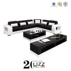 Meubles de maison de luxe moderne de Dubaï coin ensemble canapé en cuir