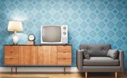 Armário de televisão da sala de estar no estilo de log