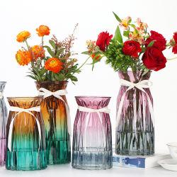 Vaso in vetro colorato con vaso trasparente con boccale floreale per matrimoni, uffici e arredamento domestico