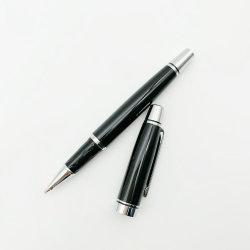 Negro clásico de gama alta rodillos metálicos Bolígrafo con bola rodante Gel Silm Llenado de punta fina de tinta resistente al agua
