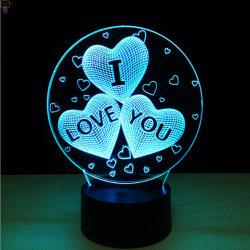 L'amour, Valentin cadeau de ballon, 3D LED colorées décorées veilleuse, lampe de table ou de lit avec commande tactile
