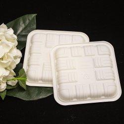 Plaque carrée blanche jetable d'amidon de maïs biodégradable de haute qualité pour Dessert