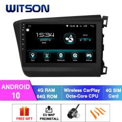 ホンダ2012-2015の車のDVDプレイヤーの市民の(RHD) 4GB RAM 64GBフラッシュ大きいスクリーンのためのWitsonのアンドロイド10車DVDのマルチメディアプレイヤー