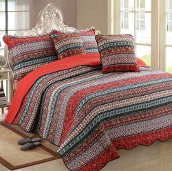 ラグジュアリーモロッコガーデンカントリーサイドベッドカバーキルト 3 ピース 縞の綿の寝具は結婚式の慰める人のために卸しで置く