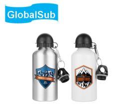 Globalsub 도매 옥외 여행 Thermos 열 압박 공백 2 모자 관례 스포츠 승화 인쇄를 위한 알루미늄 물병