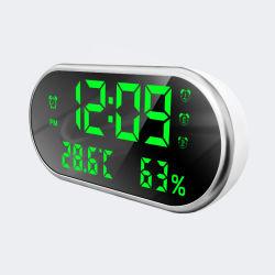 テーブルトップの電子クロックを満たすデジタルLEDミラーの目覚し時計USB