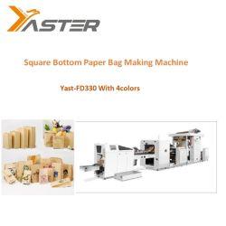 Das 4 Farben-Drucken-das Einkaufen und die Nahrung tragen den quadratischen unteren Papierbeutel, der Maschine mit gutem Preis Yast-Fd330 4colors herstellt