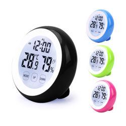 실내 온도계와 하이그로미터가 있는 미니 라운드 프로모션 알람 시계