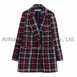女性冬の方法ヨーロッパの格子ウールのコート