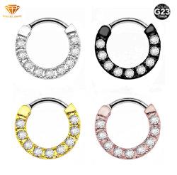 G23チタニウムの刺すような工場直接銀製の宝石類の人体の刺すような宝石類の国境を越える爆発はダイヤモンドのノーズリングの鼻の隔壁の宝石類Tp1981を模倣する