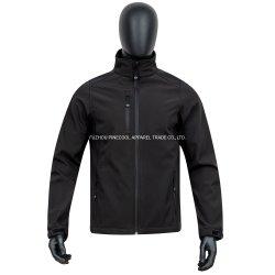 O preto clássico Colar de suporte à prova de homens Softshell Jacket com bolso Zip e manguito/braçadeira elástica