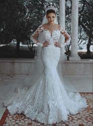 Hwd032 Europese en Amerikaanse Custom Wedding Dress 2021 nieuwe Sexy Diepe V-Neck Fishtail Lace Wedding Dress bruids