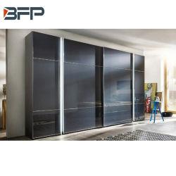 Armario de puertas corredizas de vidrio templado de muebles de dormitorio moderno