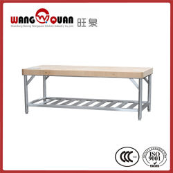 Коммерческие кухонного оборудования 2 слоя рабочего стола из нержавеющей стали с деревянной отделкой верхней части