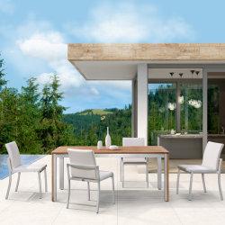 정원 티크 목제 테이블 옥외 식사 가구는 알루미늄 의자로 놓았다