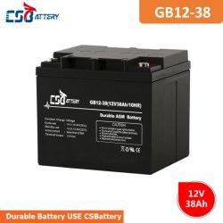 Csbattery 12V 38AH Seal-Lead-ácido da bateria do MGA PARA UPS/Motor/Computer-Backup-Power/Iluminação/Fonte de brinquedos