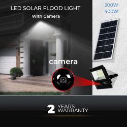 سعر الجملة ضوء LED للطاقة الشمسية متعدد الوظائف مقاومة للماء في الهواء الطلق مع كاميرا الأمان CCTV بقوة 200 واط وبقوة 400 واط