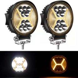 مصابيح القيادة LED دائرية مقصف مع مصابيح النهار الكهرمانية - 117W 12000 lm ضوء ساطع غامر ضوء LED ضوء العمل للشاحنات، السيارات الرياضية المتعددة الاستعمالات، السيارات الجيب.
