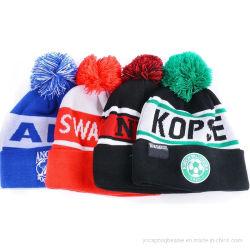 Custom 100% Acryl Bobble Winter Sport Fußball Fußball Strickmütze, Strickmütze