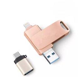 USB 256GB 3 in 1 Aandrijving 128GB van de Flits USB voor de Stok van het Geheugen van de Aandrijving USB3.0 van de Pen van de Reeks iPhone/PC/Android met Adapter typc-C