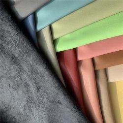 Malha de poliéster esticar Mirco Fabric PU Faux couro sintético couro camurça revestimento em tecido