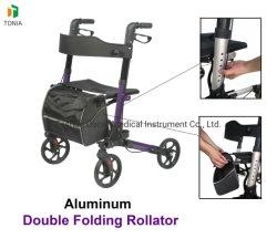 AluminiumRollator Wanderer-doppelte faltende gehende Helfer für ältere Leute Tra01