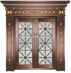 С декоративной стеклянной безопасности стали и чугуна медные двери (W-GB-02)