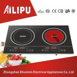 Ailipu Marken-Plastikgehäuse-und Screen-Doppelt-Brenner elektrisches Cooktop, Induktions-Kocher gegen Infrarotkocher