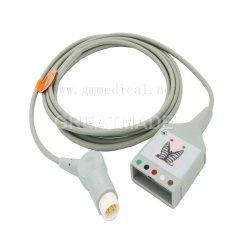 Compatible con HP/ Philips 5 latiguillos AHA trunk cable para monitor de paciente 9FT & 12pin.
