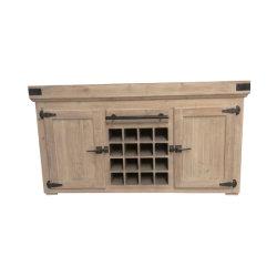 Vin en bois de sapin solide recyclé avec des portes du cabinet d'affichage