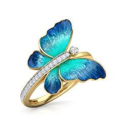 Creative encantador Anillo Mariposa Azul de la mujer elegante boda Anillo de color Oro Femenina Accesorios Bisutería chica regalos