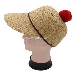 女性のための赤い綿POM POMのRaffiaの帽子の麦わら帽子